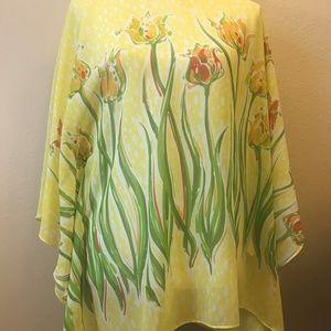 Bob Mackie Poncho Style Sheer Floral Top